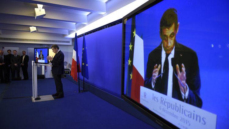 Nicolas Sarkozy, dimanche 6 décembre 2015 au siège du parti Les Républicains, à Paris. (ERIC FEFERBERG / AFP)