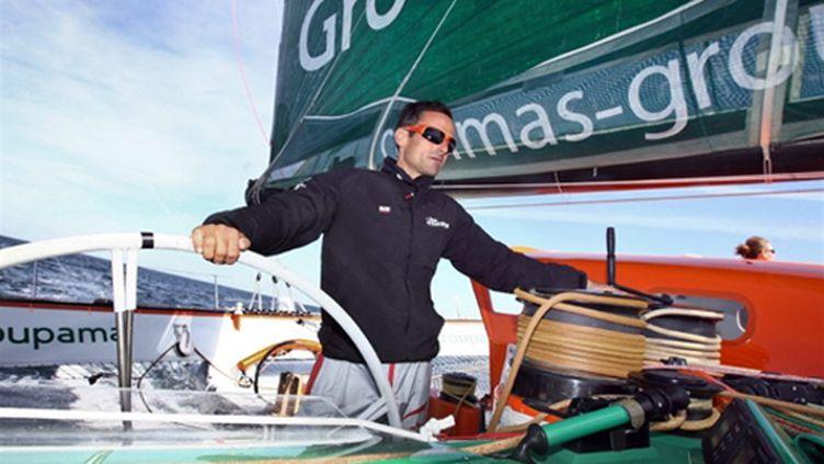 Franck Cammas sur Groupama 3 (CYRIL FOLLIOT / AFP)