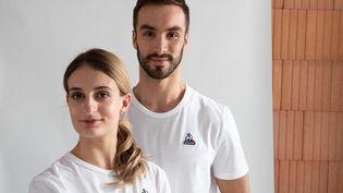 Gabriella Papadakis et Guillaume Cizeron, le 4 octobre 2021, àRomilly-sur-Seine, pour la présentation de l'équipe de France de Pékin 2022. (GEOFFROY VAN DER HASSELT / AFP)