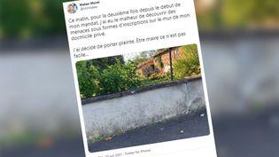 Matéo Morel, maire de Limons (Puy-de-Dôme), a pris en photo les menaces de mort dont il a été victime. (CAPTURE ECRAN TWITTER)