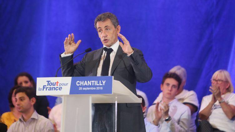 Nicolas Sarkozy, en meeting, le28 septembre 2016 à Chantilly (Oise). (MAXPPP)