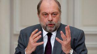 Le ministre de la Justice, Eric Dupond-Moretti, lors d'une conférence de presse, à l'Elysée, à Paris, le 9 décembre 2020. (CHARLES PLATIAU / AFP)