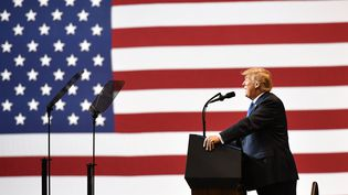 Donald Trump lors d'un meeting à Wilkes-Barre en Pennsylvanie (Etats-Unis), le 2 août 2018. (MANDEL NGAN / AFP)