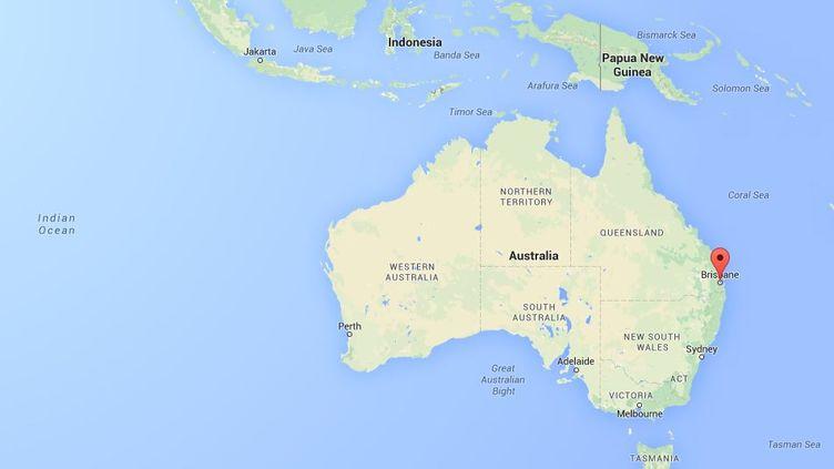 Capture d'écran de Google Maps pointant la ville de Brisbane (Australie), où un joueur de rugby est mort deux jours après un plaquage, le 22 juin 2015. (GOOGLE MAPS)
