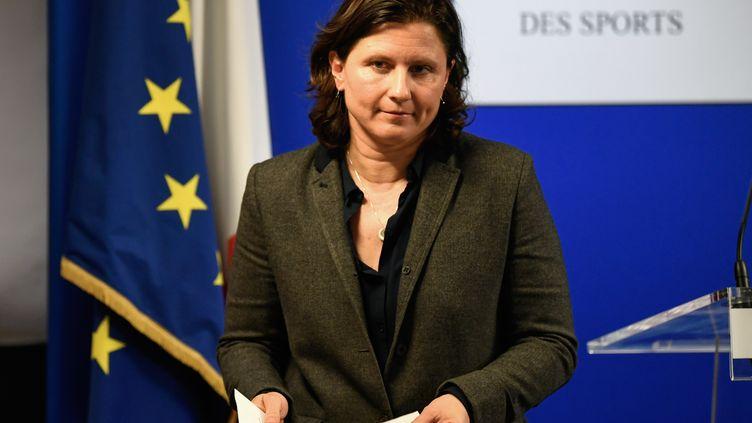 La ministre des Sports, Roxana Maracineanu, à l'issue d'une conférence de presse, le 3 février 2020, à Paris. (BERTRAND GUAY / AFP)