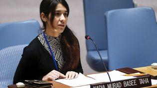 Nadia Murad, jeune femme yézidie et lauréate du prixSakharov 2016,le 16 décembre 2015, devant le Conseil de sécurité de l'ONU à New York. (EDUARDO MUNOZ / REUTERS)