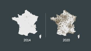 Le nombre de communes avec plus de 50% d'abstention en 2014 et 2020. (FRANCEINFO)