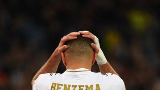 Karim Benzema, le 6 novembre 2019,à Madrid (Espagne). (GABRIEL BOUYS / AFP)