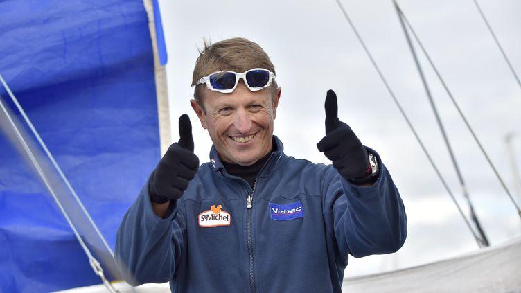 Jean-Pierre Dick lors au départ du Vendée Globe, aux Sables d'Olonne, 6 novembre 2016. (LOIC VENANCE / AFP)