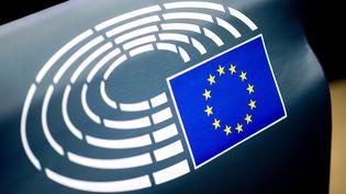 Le drapeau européen et l'hémicycle du Parlement européen représentés en logo. Image d'illustration. (HAUKE-CHRISTIAN DITTRICH / DPA)