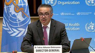 """Le patron de l'OMS Tedros Adhanom Ghebreyesus a salué la """"décision historique"""" des Etats-Unis de soutenir une levée temporaire des brevets sur les vaccins anti-Covid. Genève,le 5 janvier 2021 (HANDOUT / WORLD HEALTH ORGANIZATION)"""