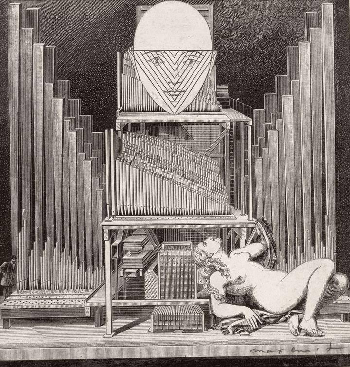 """Max Ernst, """"L'Immaculée Conception"""", 1929. Modèle d'illustration pour """"La Femme 100 têtes"""", chapitre 1, planche 12. Collage sur papier, 14,2 × 14,5 cm. Collection privée. (2013, PROLITTERIS, ZURICH)"""
