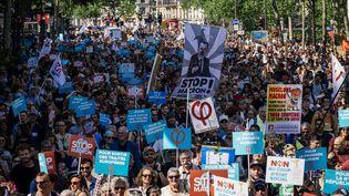 Le cortège de la Fête à Macron, à Paris, le 5 mai 2018. (MARIE MAGNIN / HANS LUCAS)