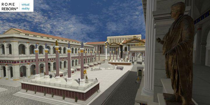 """La Rome antique en réalité virtuelle """"Rome Reborn"""" (""""Renaissance de Rome"""")  (HANDOUT / ROME REBORN VIRTUAL REALITY PROJECT / FLYOVER ZONE PRODUCTIONS / AFP)"""