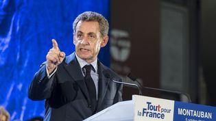 L'ancien président Nicolas Sarkozy lors d'un meeting à Montauban, le 5 octobre 2016. (CITIZENSIDE / PATRICK BATARD / AFP)