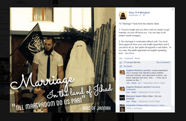 """""""10 faits sur le mariage dans l'Etat islamique"""" sur la page Facebook """"Journal d'une Muhajirah"""". (DIARY OF A MUHAJIRAH /  FACEBOOK)"""