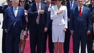Le président des Etats-Unis, Donald Trump, la Première dame, Melania Trump, le Premier ministre israélien, Benyamin Nétanyahou et le président israélien, Reuven Rivlin. (JACK GUEZ / AFP)