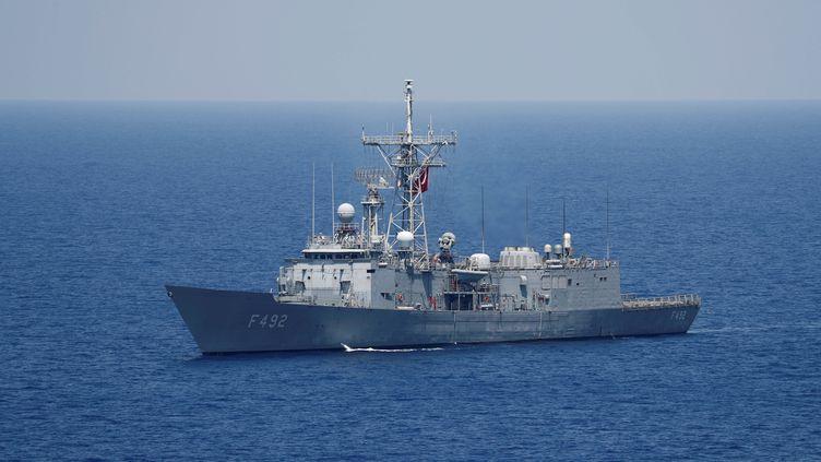 Un navire militaire turc, enMéditerranée orientale, le 6 aout 2019. (MURAD SEZER / REUTERS)
