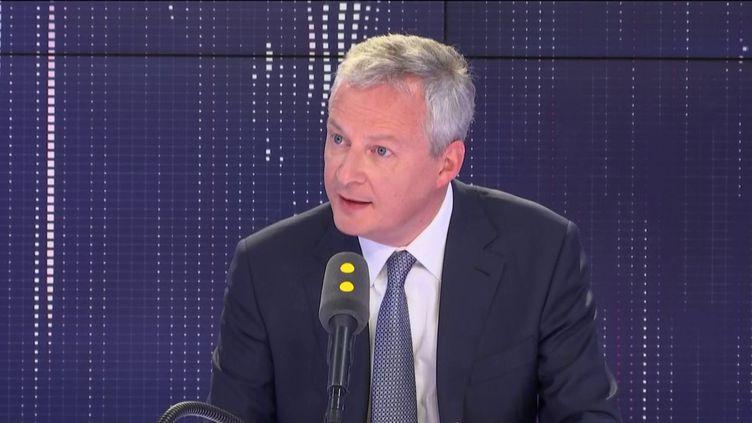 """Bruno Le Maire, ministre de l'Économie et des Finances, invité du """"8h30 Cadet-Dély"""", mardi 9 avril 2019. (FRANCEINFO / RADIOFRANCE)"""
