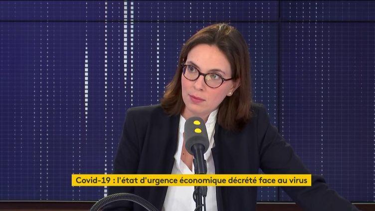 """Amélie de Montchalin, secrétaire d'Étataux Affaires européennes, était l'invitée du """"8h30 franceinfo"""" du lundi 9 mars 2020 (capture écran). (FRANCEINFO / RADIOFRANCE)"""