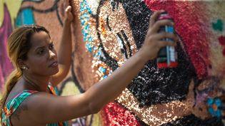 Anarkia Boladona donne la touche finale à un de ses graffs à Rio de Janeiro en février 2013  (CHRISTOPHE SIMON / AFP)