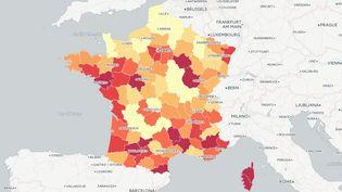 Carte de l'augmentation du chômage de juin 2012 à juin 2015, d'après les chiffres de Pôle emploi. (FRANCETV INFO)