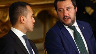 Luigi Di Maio (Mouvement 5 étoiles) et Matteo Salvini (la Ligue) au palais du Quirinal après la formation de leur gouvernement de coalition, le 1er juin 2018 à Rome. (TONY GENTILE / REUTERS)