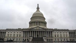 Le Capitole, à Washington, qui abrite le Congrès américain, le 25 mars 2020. (ALEX EDELMAN / AFP)