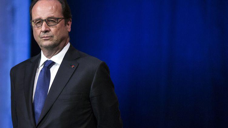 François Hollande, le 10 juin 2016 à l'hôtel de ville de Paris. (ETIENNE LAURENT / AFP)