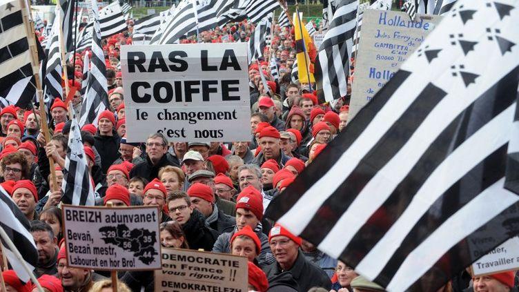 """Manifestation de """"bonnets rouges"""" contre l'écotaxe le 30 novembre 2013 à Carhaix-Plouguer (Finistère). (FRED TANNEAU / AFP)"""