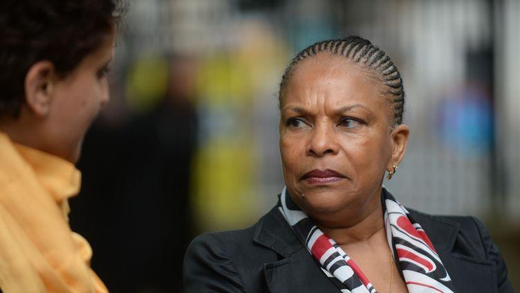 La ministre de la Justice, Christiane Taubira, participe aux cérémonies de commémoration de l'abolition de l'esclavage, à Paris, le 10 mai 2014. (AMMAR ABD RABBO / SIPA)