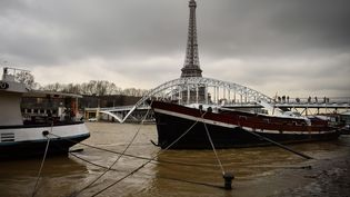 Les rives de la Seine après les fortes pluies, samedi 6 janvier 2018 à Paris. (CHRISTOPHE SIMON / AFP)