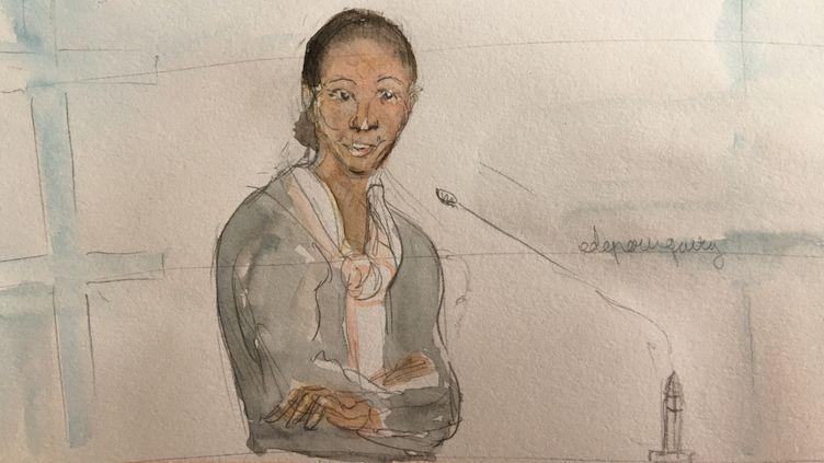 Fabienne Kabou dans le box de la cour d'assises de Saint-Omer (Pas-de-Calais), le 23 juin 2016. (ELISABETH DE POURQUERY / FRANCETV INFO)