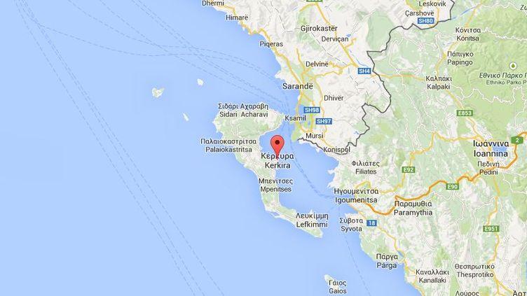 Carte pointant sur l'île grecque de Corfou. (GOOGLE MAPS / FRANCETV INFO )