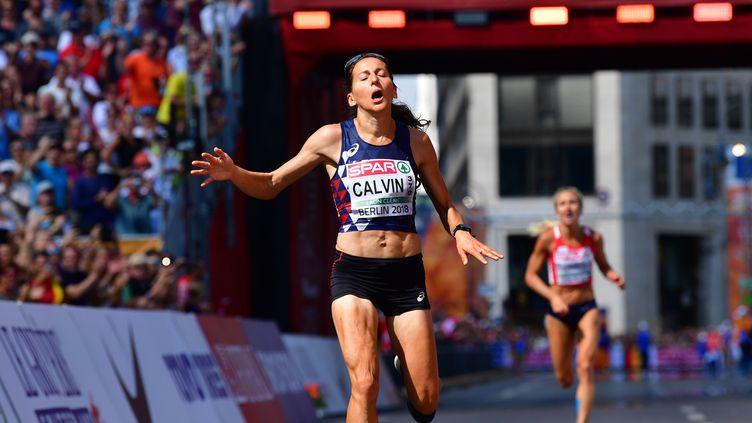 La Française Clémence Calvin aux championnats européens d'athlétisme, à Berlin, le 12 août 2018. (ANDREJ ISAKOVIC / AFP)