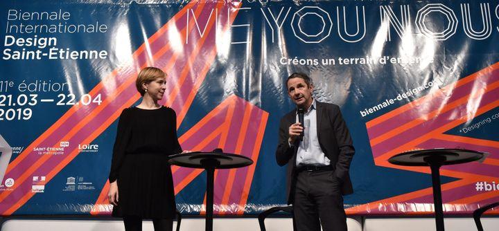 Lisa White, commissaire principale et Thierry Mandon, directeur général de la Cité du design. Conférence de presse de présentation de la 11e biennale du design qui aura lieu du 21 mars au 22 avril 2019.  (Yves Salvat/PHOTOPQR/LE PROGRES/MAXPPP)