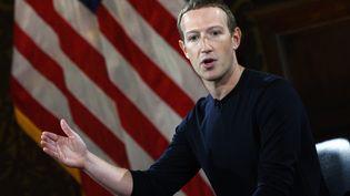 Mark Zuckerberg, patron de Facebook, lors d'une prise de parole à l'université de Georgetown, à Washington, le 17 octobre 2019. (ANDREW CABALLERO-REYNOLDS / AFP)