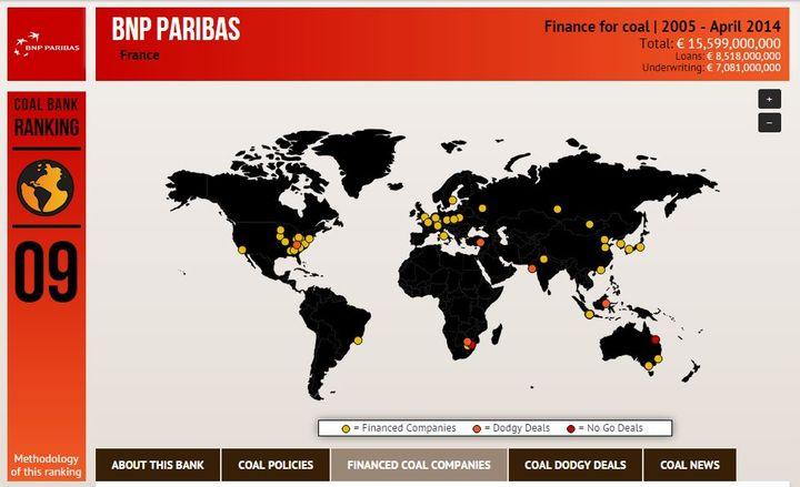 Capture d'écran de la page consacrée à BNP Paribas sur le site Coal Banks, du réseau BankTrack. Ce collectif d'ONG surveille l'action du secteur financier dans le développement durable. (COAL BANKS / BANKTRACK)