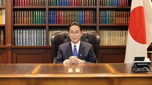 Le nouveau Premier ministre du Japon Fumio Kishida à Tokyo après sa victoire à l'élection à la présidence de son parti, le 1er octobre 2021. (EYEPRESS NEWS / AFP)