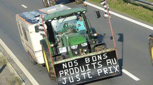 Les agriculteurs des côtes d'Armor, du Finistère, d'Ille et Vilaine et du Morbihan se sont retrouvés près deRennes (Ille-et-Vilaine), le 2 septembre 2015. (  MAXPPP)