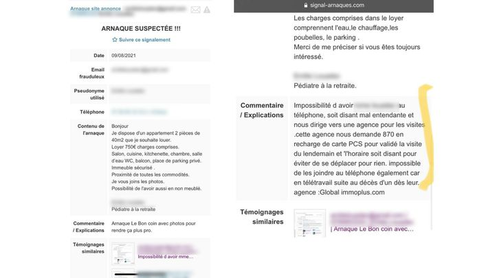 Les arnaques sont parfois recensées sur des sites d'alerte, sur Internet, détaillant les mode de fonctionnement des arnaqueurs. (CAPTURE ECRAN / FRANCEINFO)