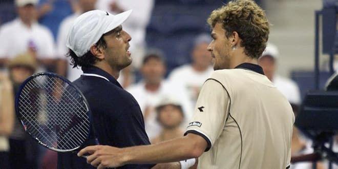 Cédric Pioline et Gustavo Kuerten en 1999 à l'US Open