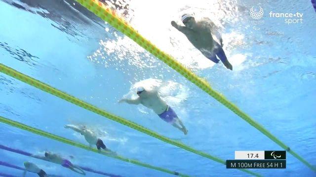 """Auteur du 7e temps des séries en 1'32""""52, le Français David Smetanine rallie la finale du 100 m nage libre S4."""