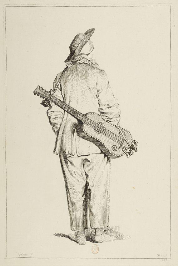 """François Boucher (1703-1770), """"Pierrot de dos, la guitare dans le dos"""", d'après Antoine Watteau. Figures de différents caractères. Eau-forte pure. Paris, Bibliothèque nationale de France. (BIBLIOTHÈQUE NATIONALE DE FRANCE)"""