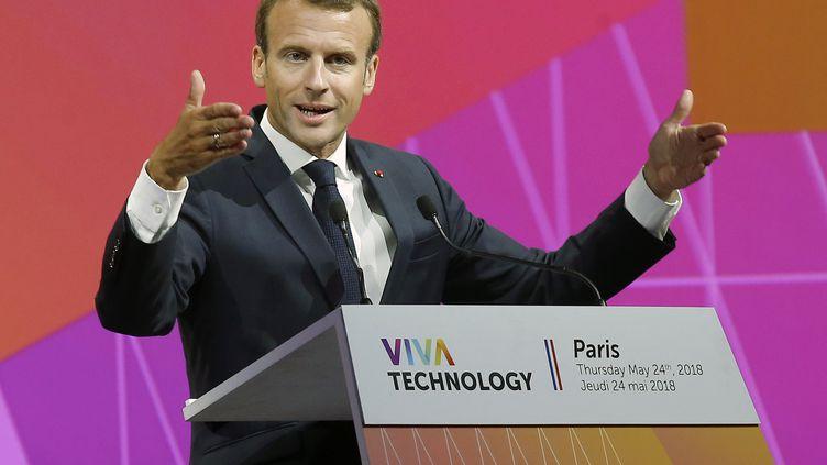 EmmanuelMacron, au salon Vivatech, à Paris, le 24 mai 2018. (MICHEL EULER / POOL / AP POOL)