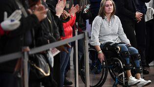 Béatrice de Lavalette, à la commémoration des attentats de Bruxelles qui ont eu lieu le 22 mars 2016. Photo prise le 22 mars 2018. (DIRK WAEM / BELGA MAG / AFP)