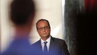 Le président de la République, François Hollande, lors d'une conférence de presse à Paris, le 7 septembre 2015. (FRANCOIS MORI / AP / SIPA)