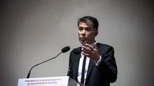 Olivier Faure, premier secrétaire du PS, le 30 mai 2018 à Alfortville (Val-de-Marne). (NICOLAS MESSYASZ / SIPA)