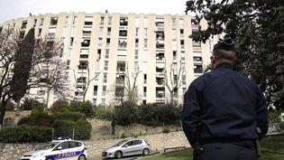 Un policier devant la cité de la Castellane, à Marseille, en marge d'une visite du ministre de l'Intérieur Bernard Cazeneuve, le 3 avril 2015. (MAXPPP)