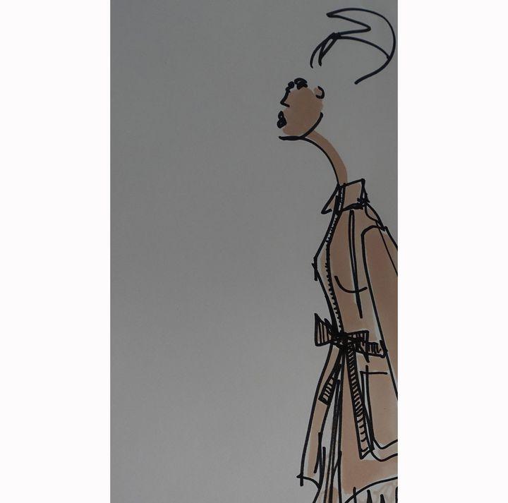 Détail d'un croquis d'Olivier Lapidus pour la collection Lanvin printemps-été 2018  (Corinne Jeammet)